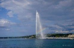 Lago Ginebra y la fuente Jet d'Eau. Ginebra. Suiza 2015..